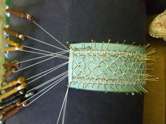 Plain Bobbin Lace Bookmark being made.